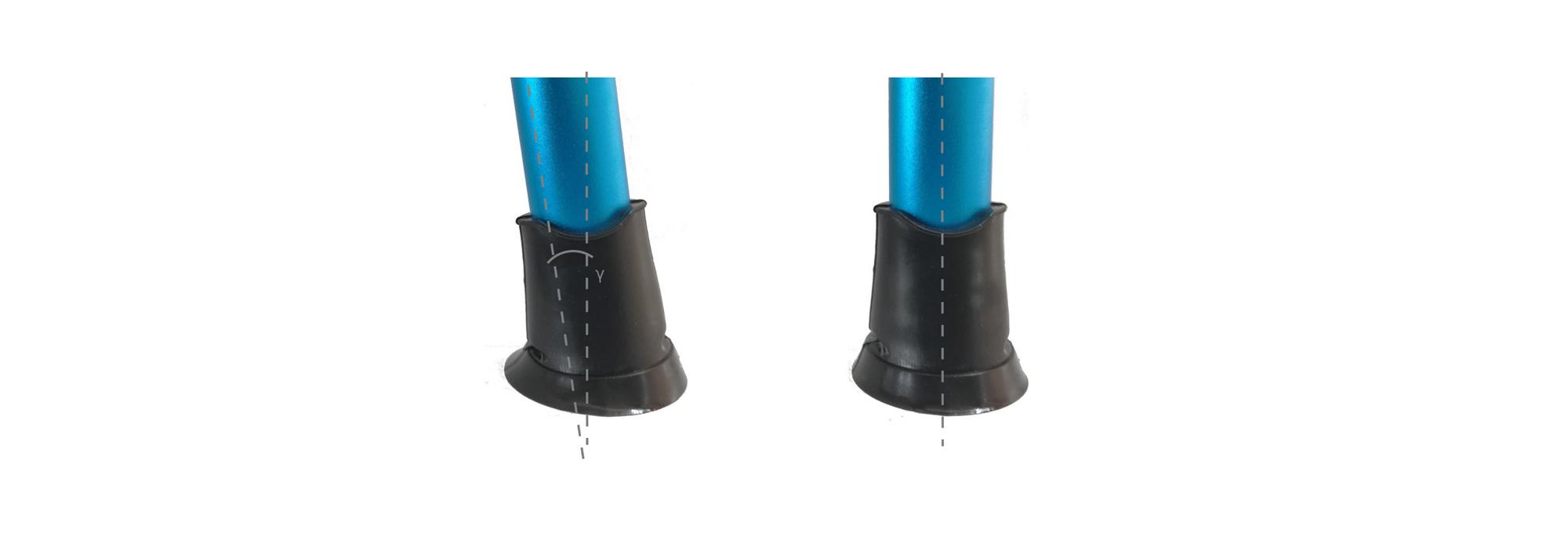 Krückenkapseln rutschfest. Der maximale Kontaktwinkel, der als der maximale Neigungswinkel der Stange definiert ist, ermöglicht dass die Gesamtfläche der Basis der Kapsel jederzeit mit maximalem Bodenkontakt gehalten werden kann